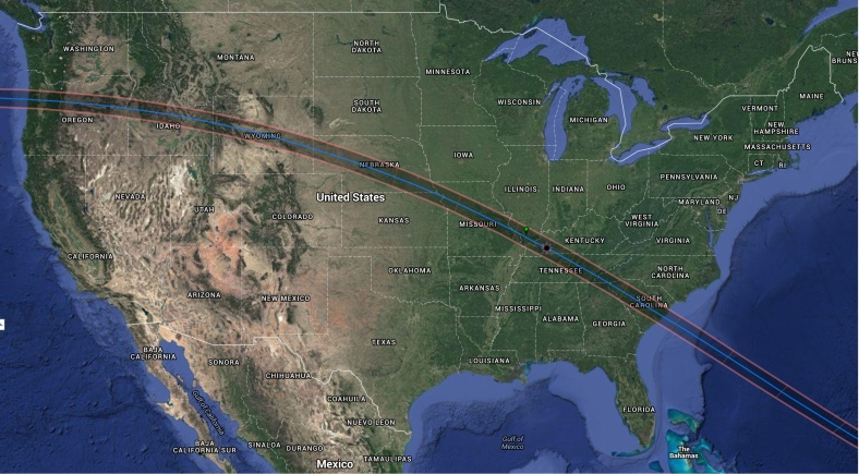 Path of the Great American Eclipse happening on August 21, 2017
